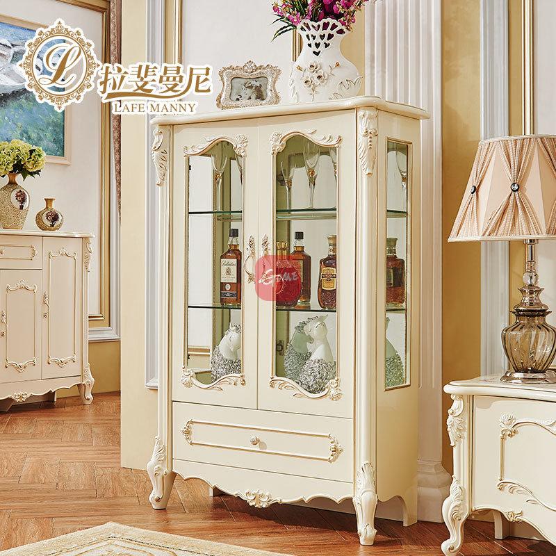 拉斐曼尼欧式实木酒柜奢华雕花白色餐边柜储物柜现代简约客厅家具gfk