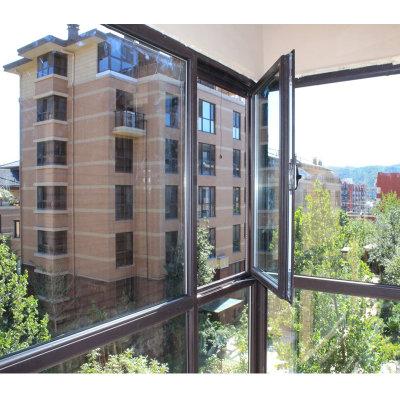 品牌窗户 隔音门窗平开窗 玻璃阳光房钢结构扩建加盖(褐色)